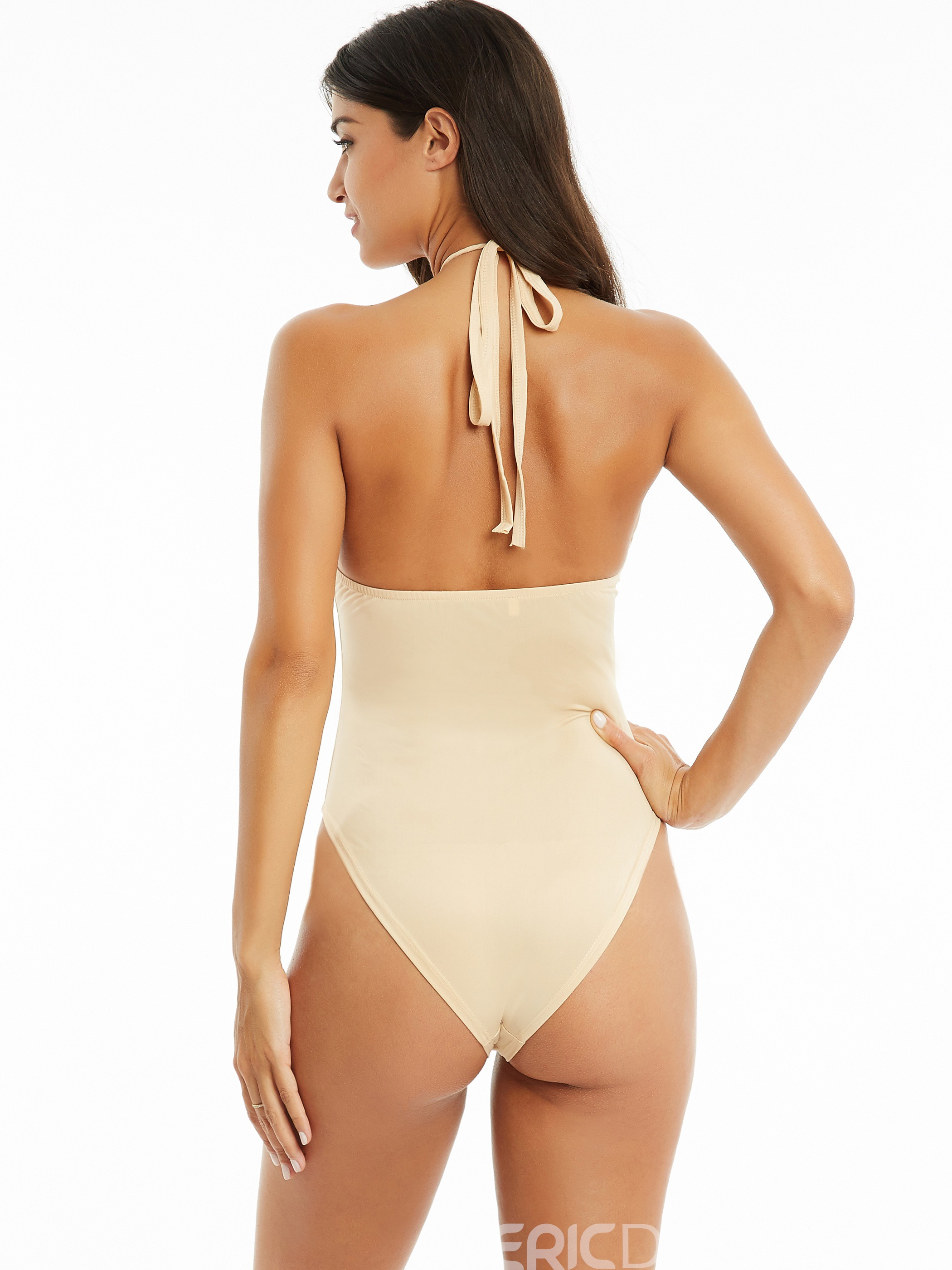 Ericdress Sexy Plain Polyester Lace-Up One Piece Swimwear
