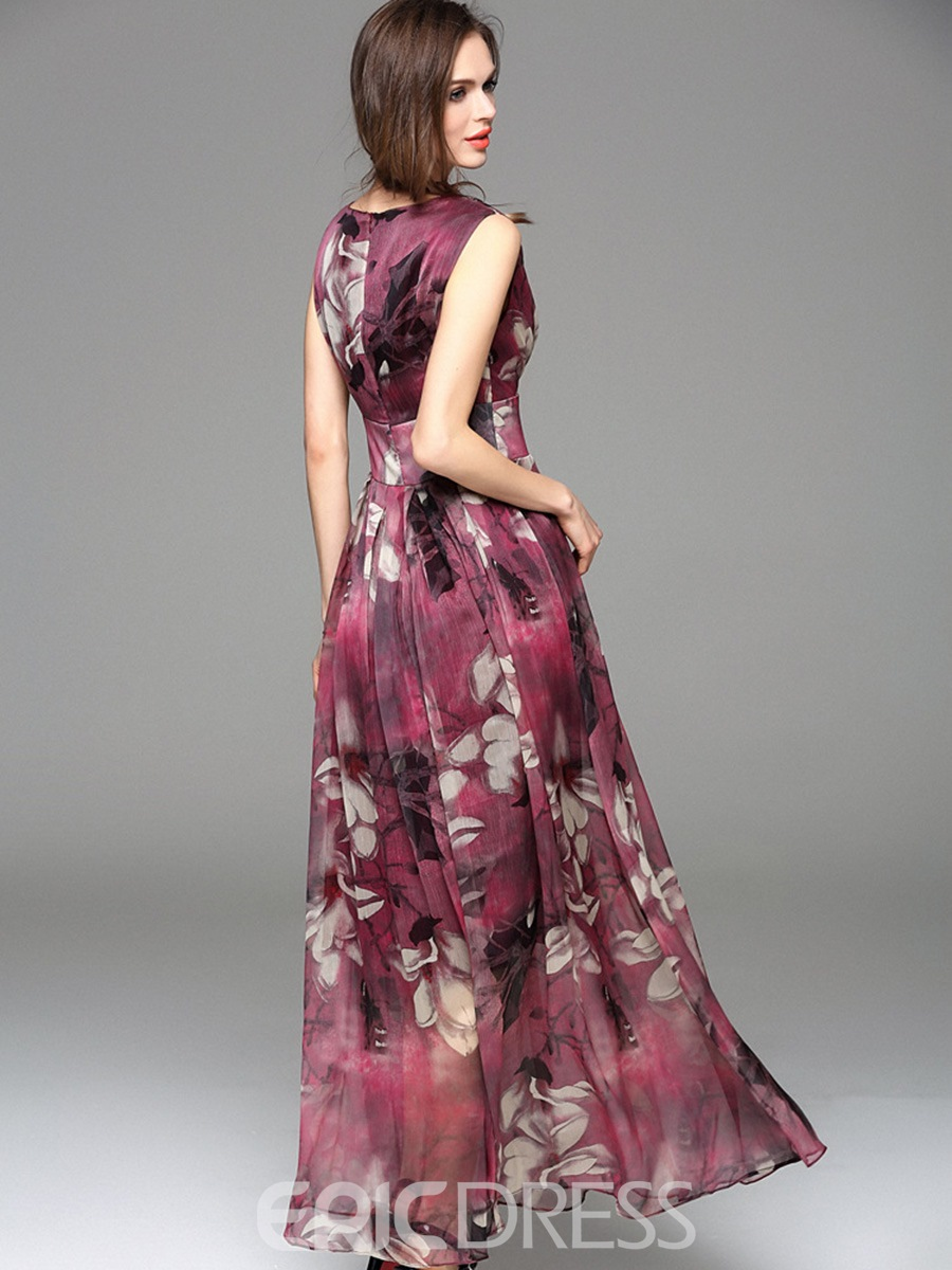 Ericdress V-Neck Pleated Print High-Waist Maxi Dress