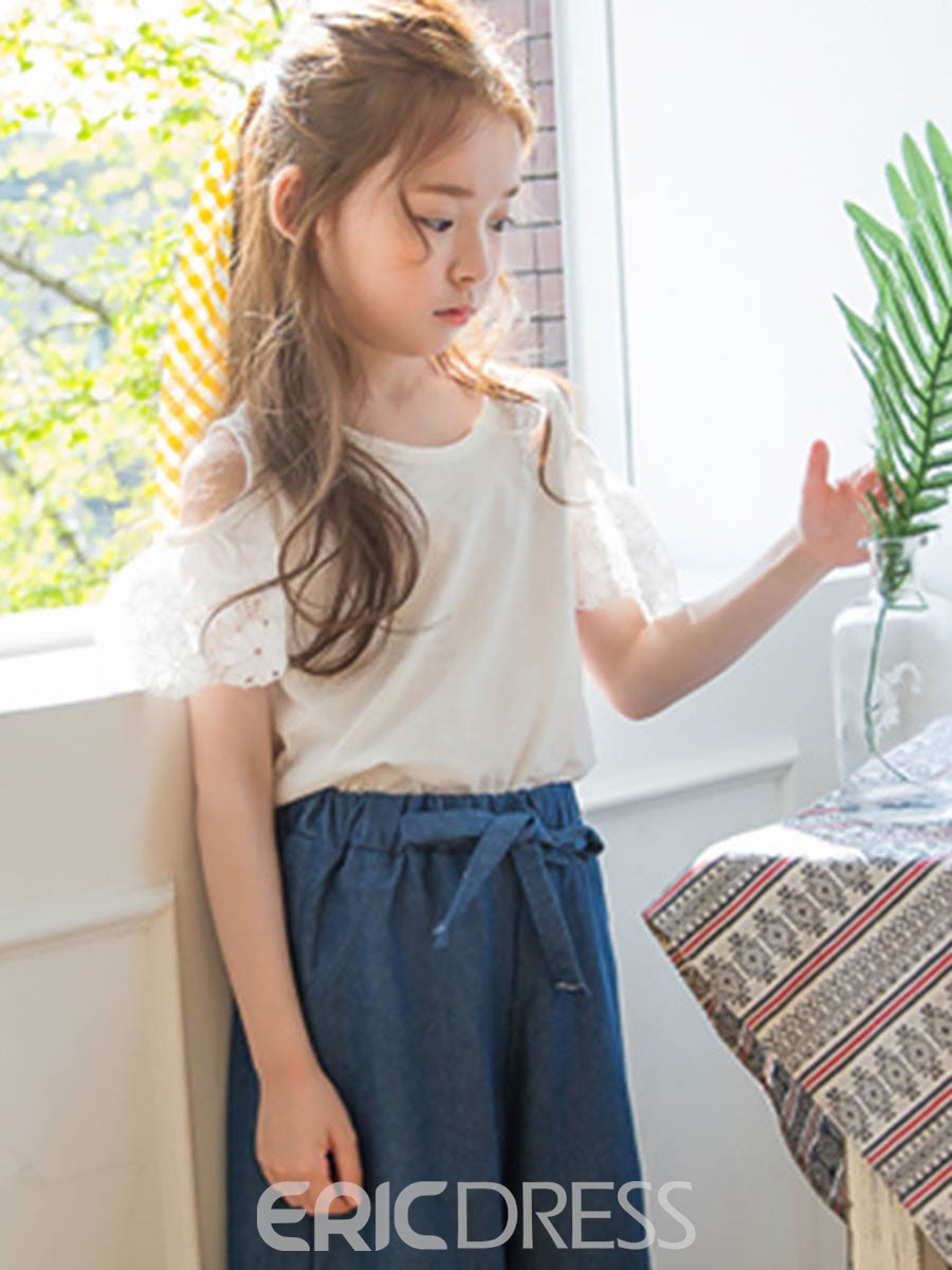Ericdress Plain T-Shirt & Pants Summer Girls Outfit