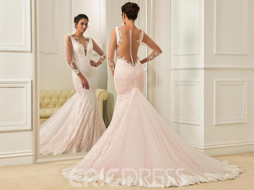Ericdress Mermaid Long Sleeves Appliques Pink Wedding Dress
