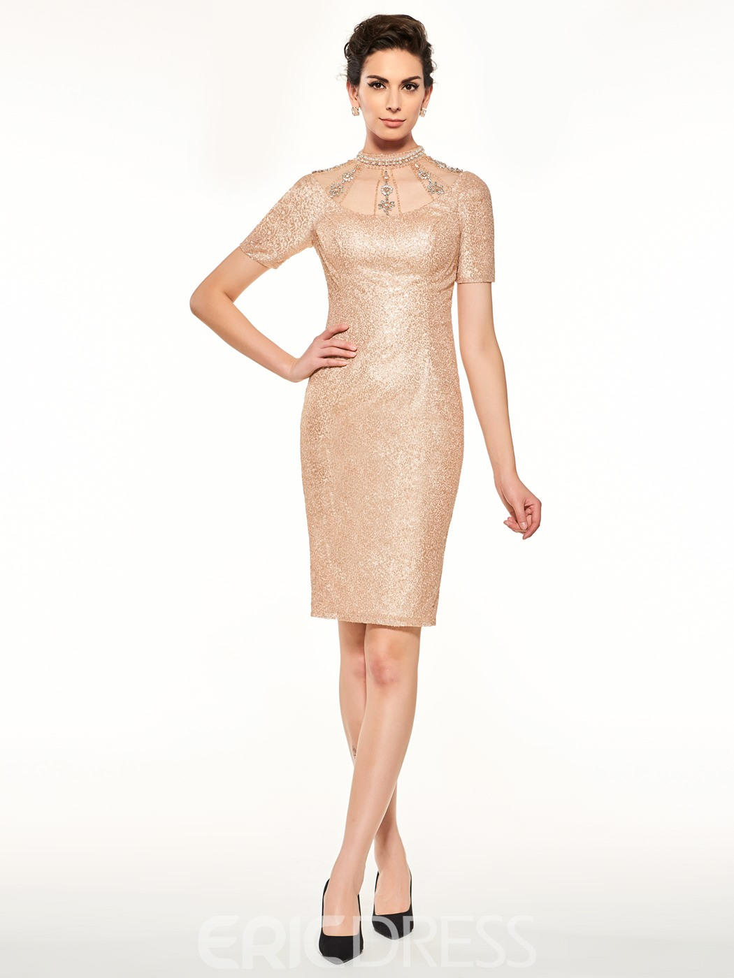 Ericdress High Neck Beaded Short Sleeves Knee Length Sequins Mother Of The Bride Dress