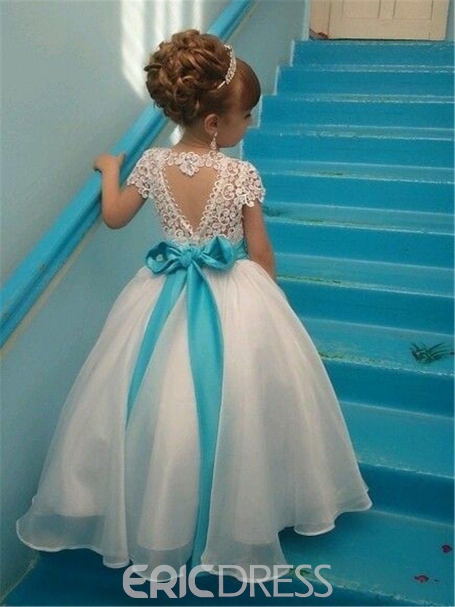 Ericdress Short Sleeves Beaded Sashes Lace Flower Girl