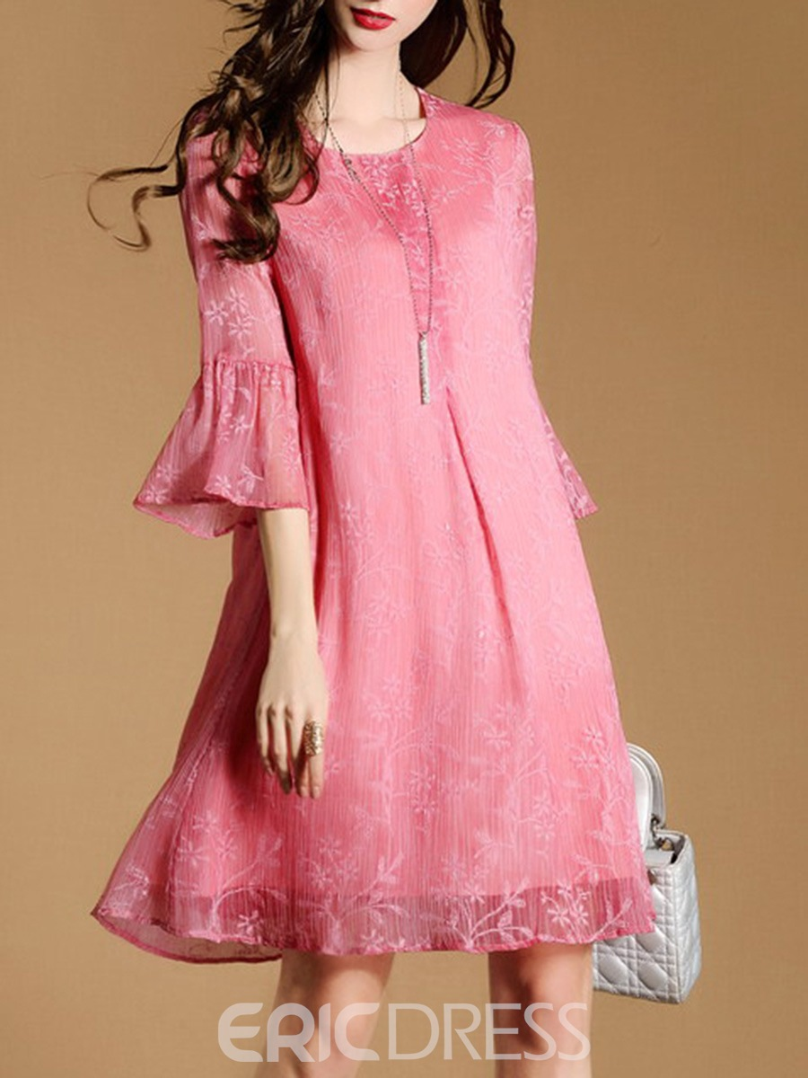Ericdress Ruffle Sleeve Round Collar Patchwork Casual Dress