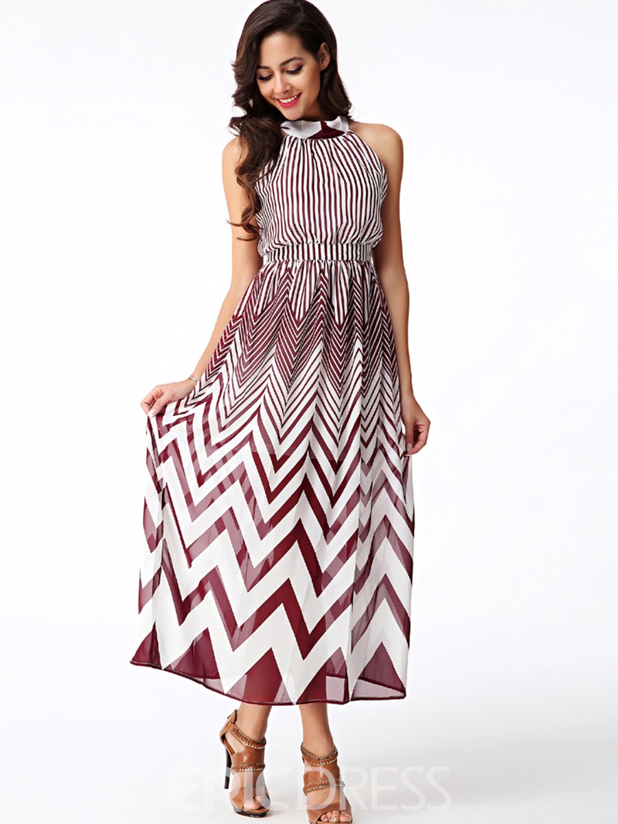 Ericdress Halter Geometric Print Sleeveless Maxi Dress