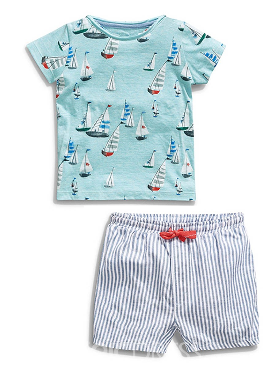 Ericdress Cartoon Stripe 2-Pcs Summer Boys Suit
