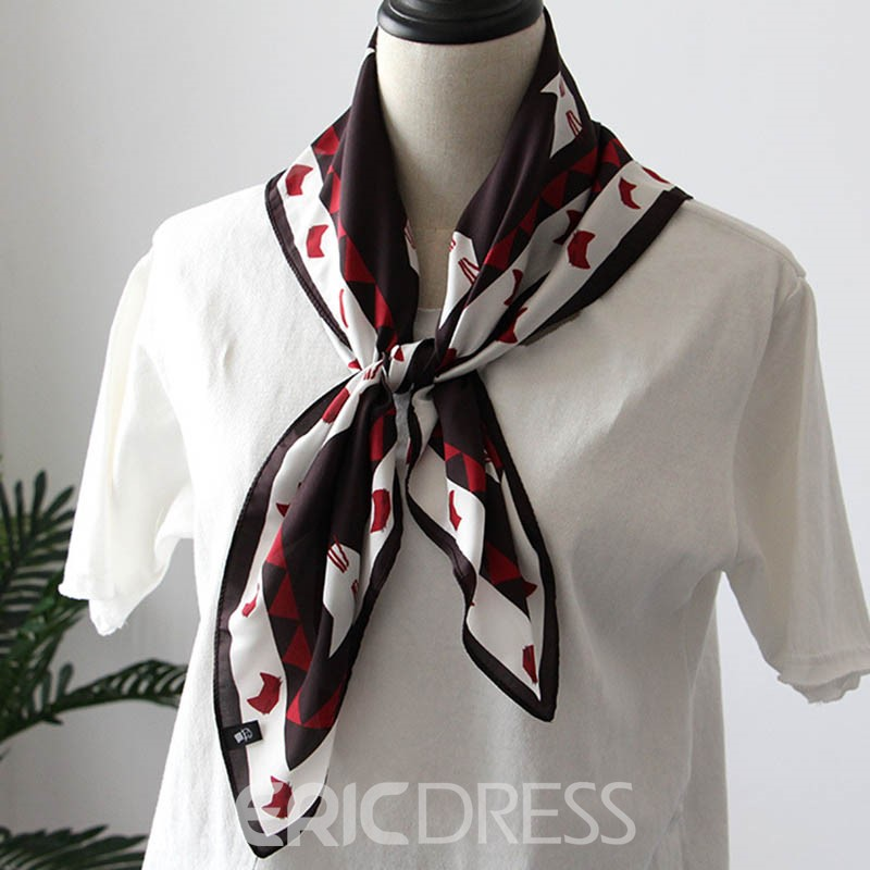 Ericdress Red Cat's Face Printed Thin Square Scarf