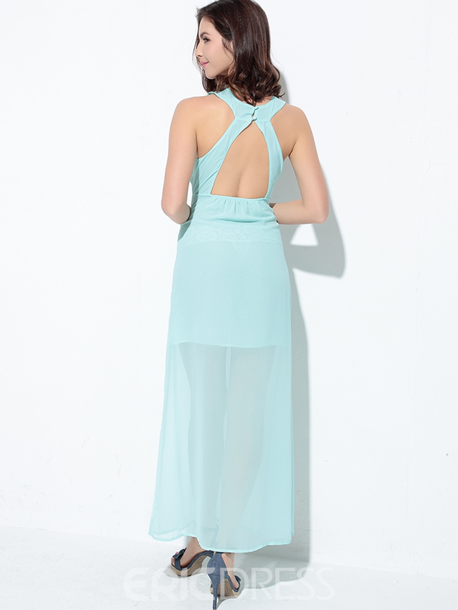 Ericdress Backless Patchwork See-Through Maxi Dress