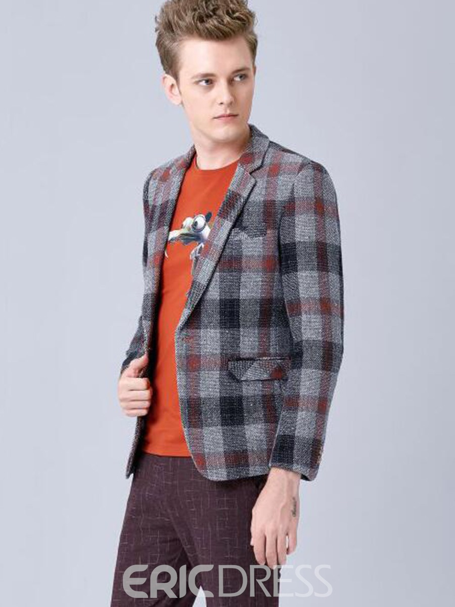 Ericdress Color Block Plaid One Button Casual Men's Blazer