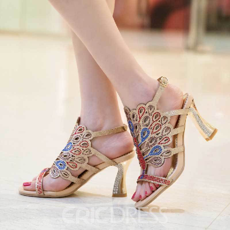 Ericdress Bright Rhinestone Open Toe Stiletto Sandals
