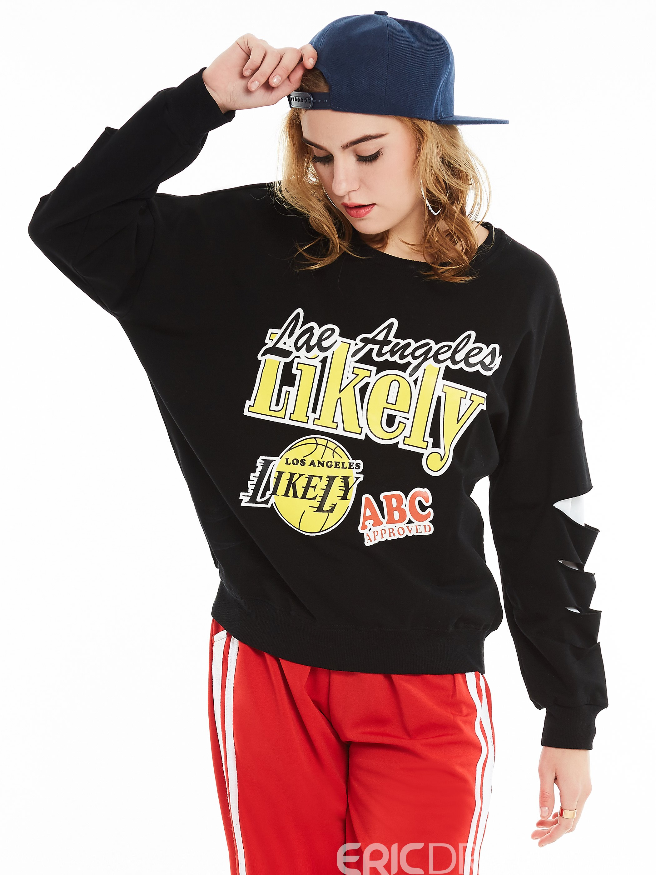 Ericdress Letter Print Hole Pullover Hoodie