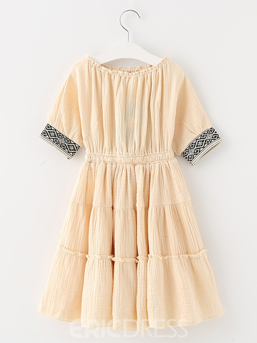 Ericdress Ruffles Slash Neck Ankle-Length Dress