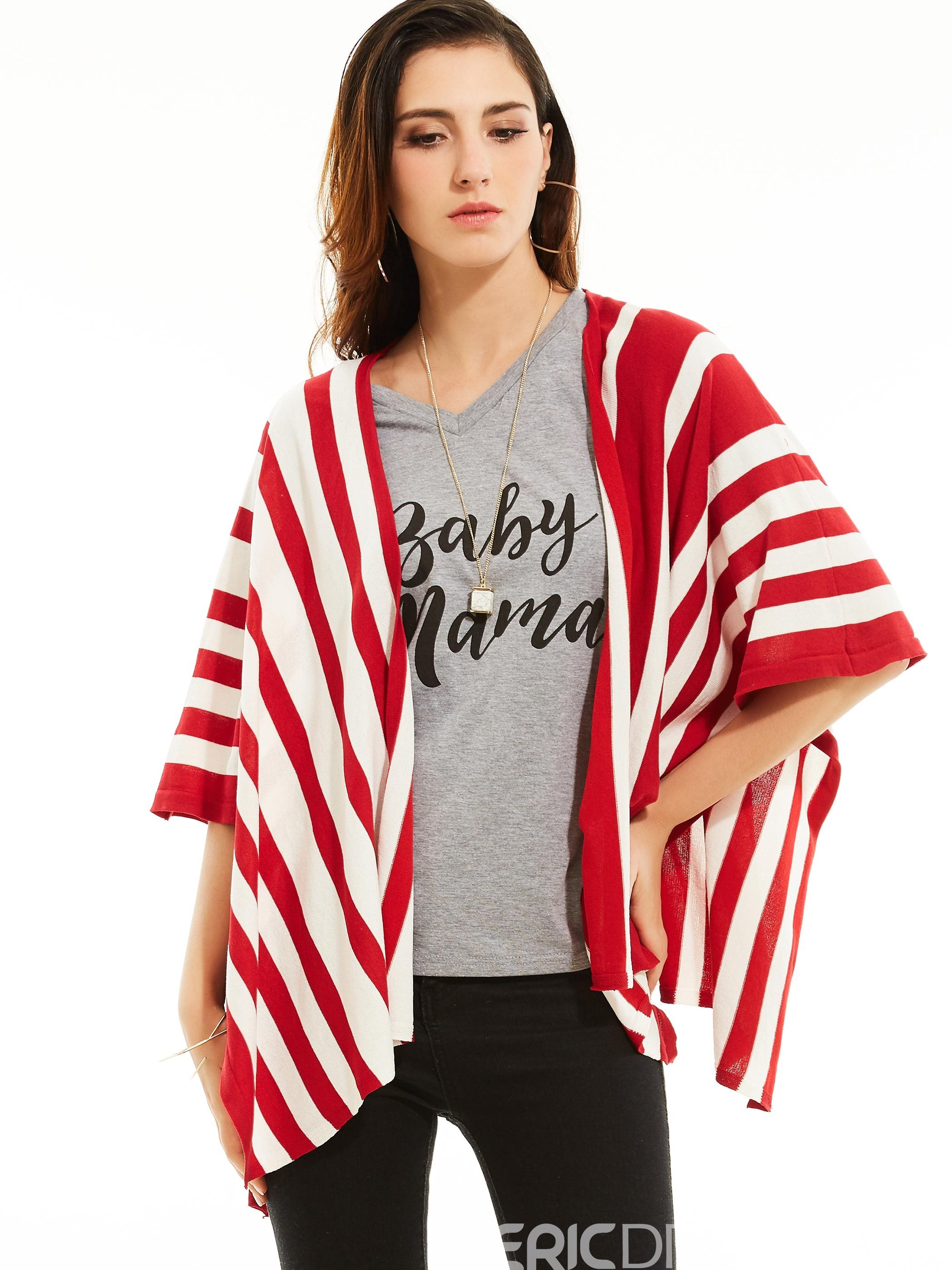 Ericdress Wrapped Stripe Color Block Cape