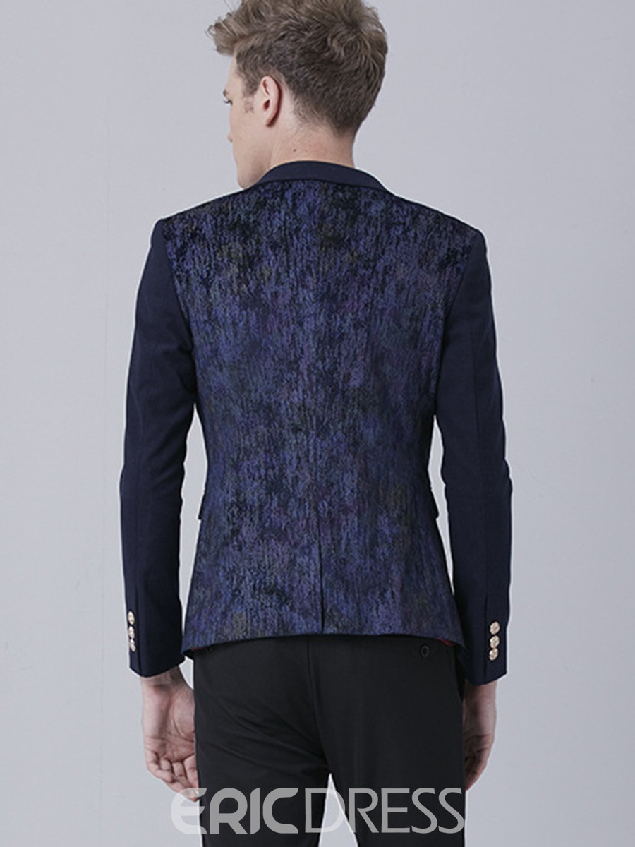 Ericdress Vogue Print Patched Slim Men's Blazer