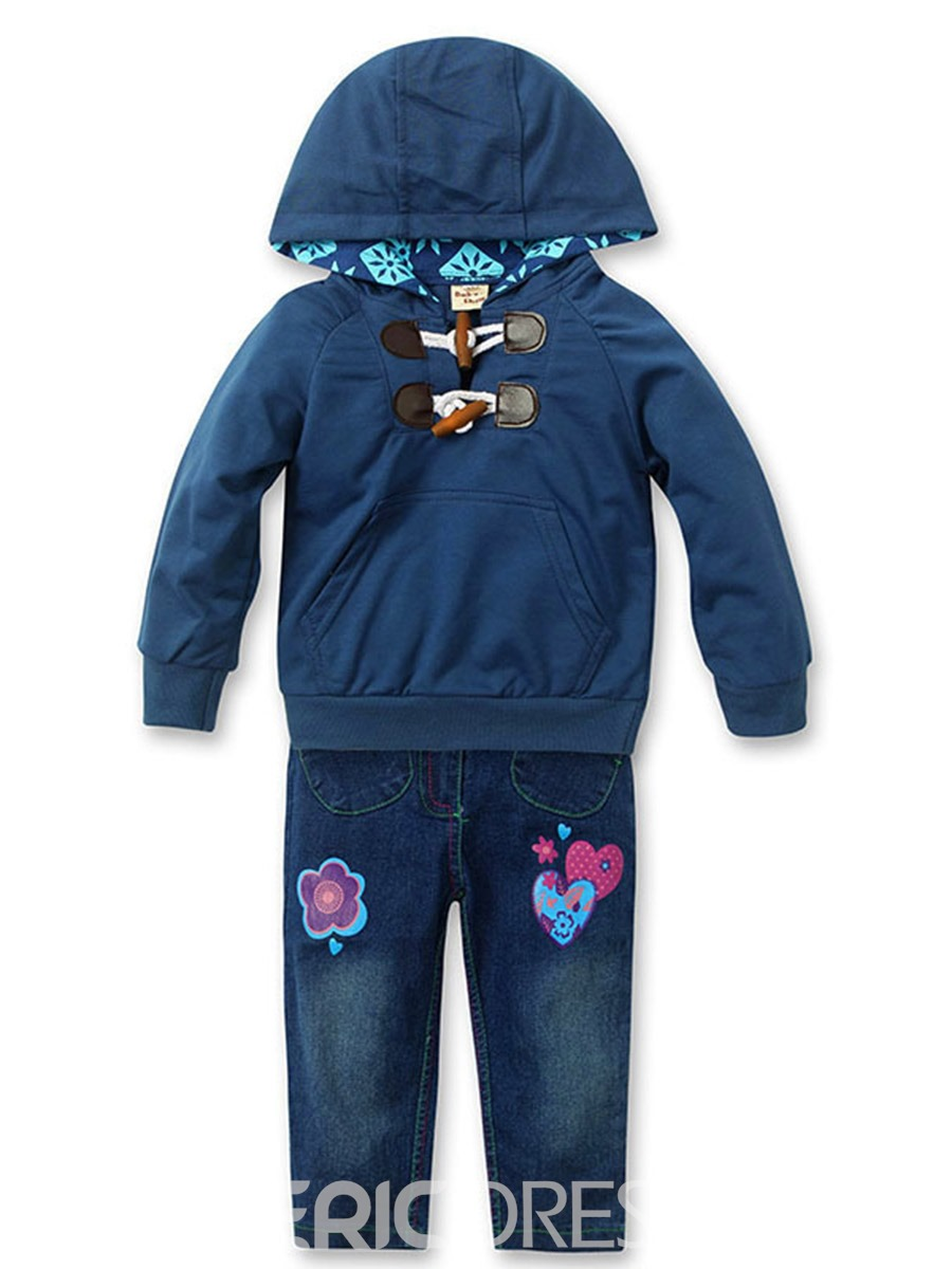 Ericdress Pocket Hoodie & Jeans Girls 2-Pcs Outfit