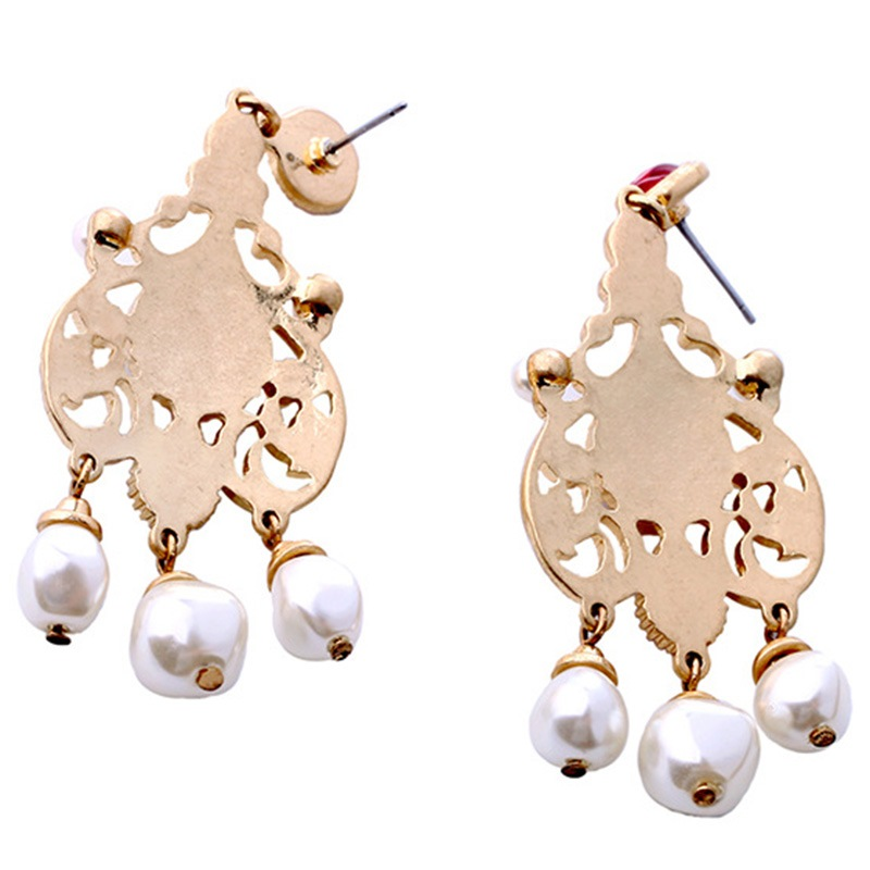 Ericdress Artificial Pearls And Red Gems Vintage Style Earrings