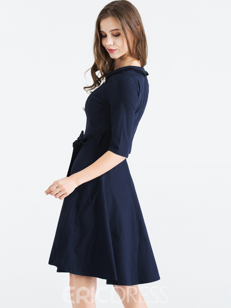 Ericdress Double-Breasted Button Expansion A Line Dress