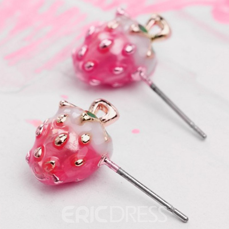 Ericdress Sweet Pink Strawberry Stud Earrings