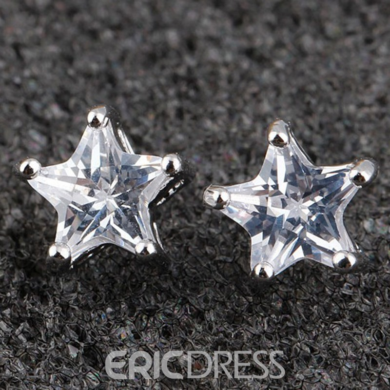 Ericdress Five-Pointed Star Zircon Design Earrings