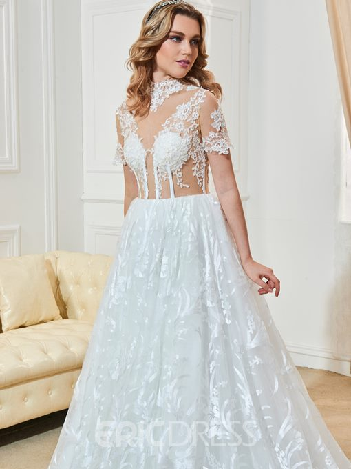 Ericdress High Neckline Short Sleeves A Line Lace Wedding Dress
