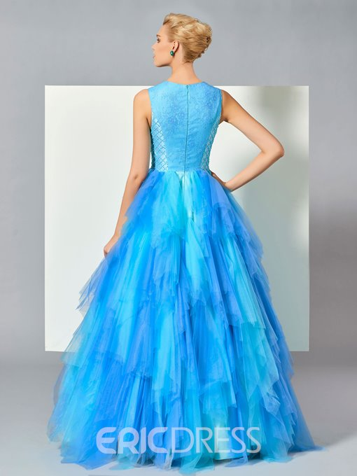 Ericdress Ball Lace Appliques Beading Draped Tiered Floor-Length Evening Dress