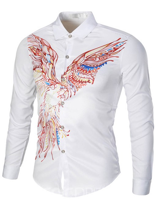 Ericdress Long Sleeve Unique Print Men's Shirt