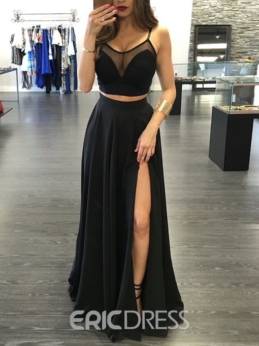 Ericdress Sexy Two Pieces Straps Side Slit Front Floor Length Evening Dress