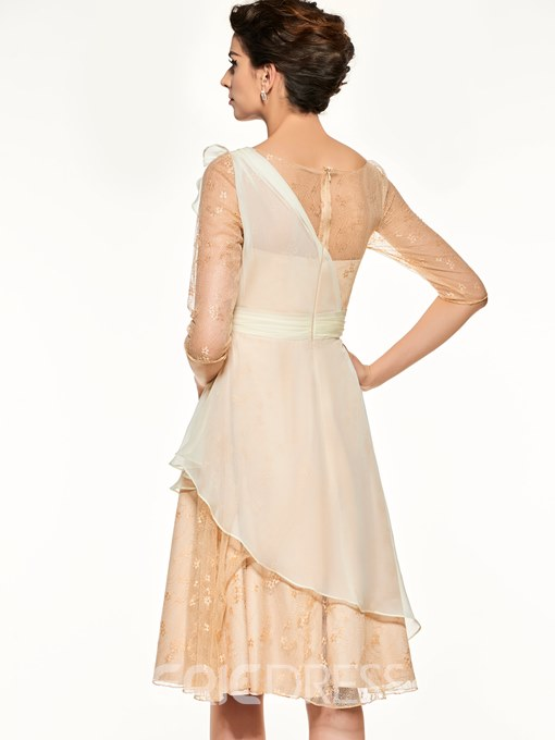 Ericdress Bateau Half Sleeves A Line Knee Length Mother Of The Bride Dress