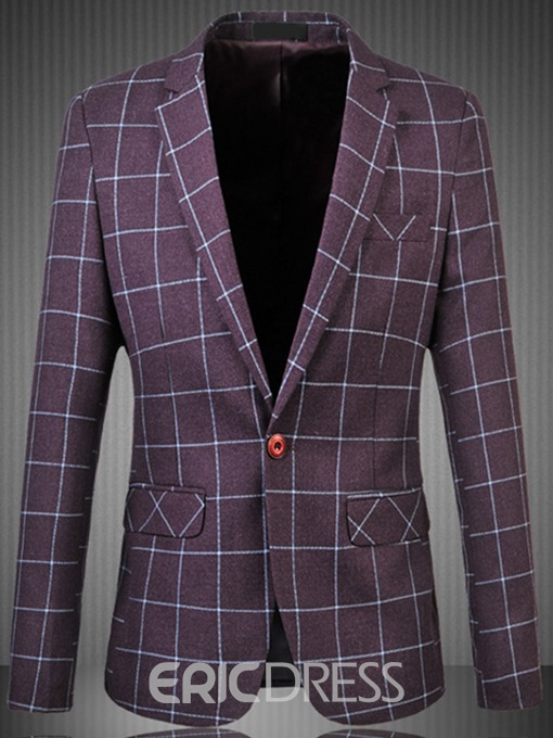 Ericdress Pocket Plaid Notched Lapel Slim Large Size Casual Men's Blazer