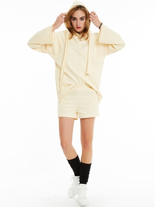 Plain Hoodie And Shorts Suit