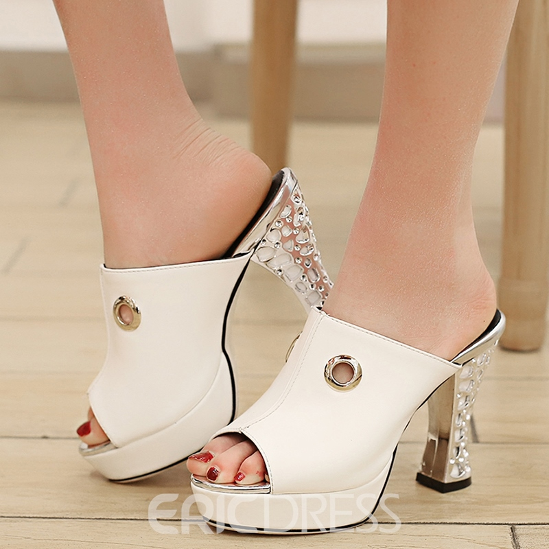 Ericdress Summer Peep Toe Platform Slip-On Mules Shoes