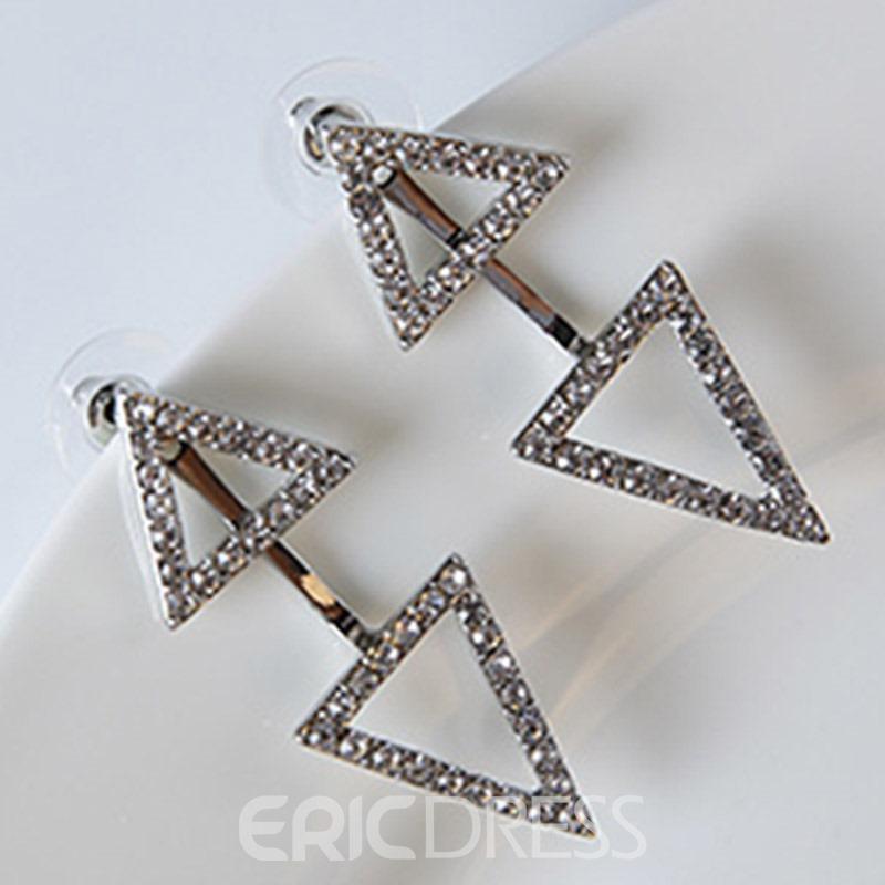 Ericdress Double Triangle Design Diamante Stud Earrings