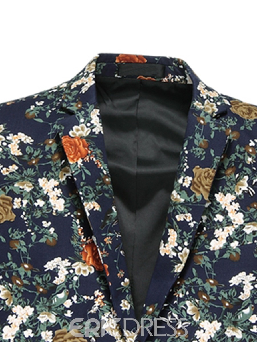 Ericdress Floral Print Unique Casual Men's Blazer