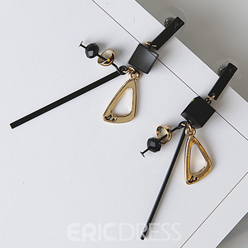 Ericdress Long Black E-Plating Geometric Pendant Earrings