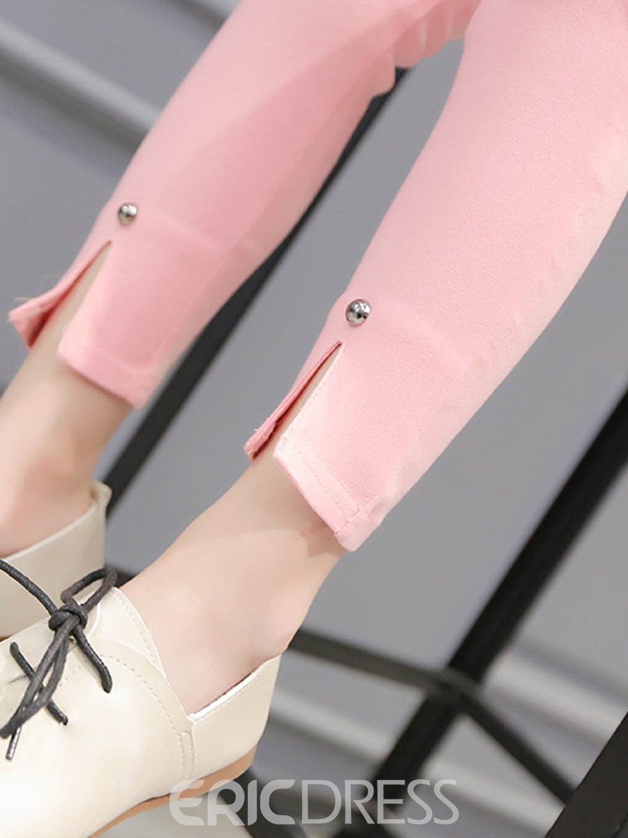 Ericdress Plain Rivet Split Girls Leggings