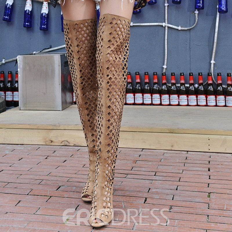 Ericdress Sexy Cut Out Peep Toe Knee High Stiletto Sandals