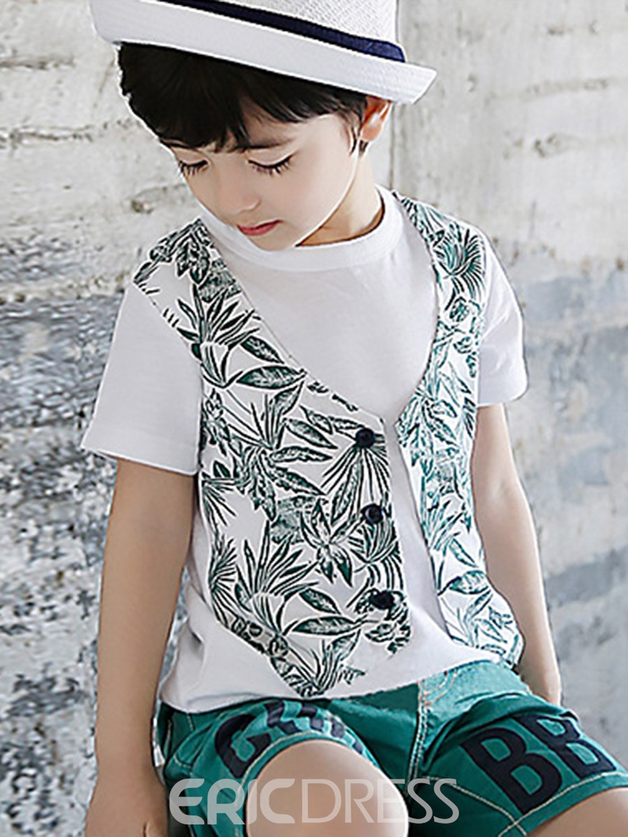Ericdress Plant Printed Double-Layer Boys T-Shirt
