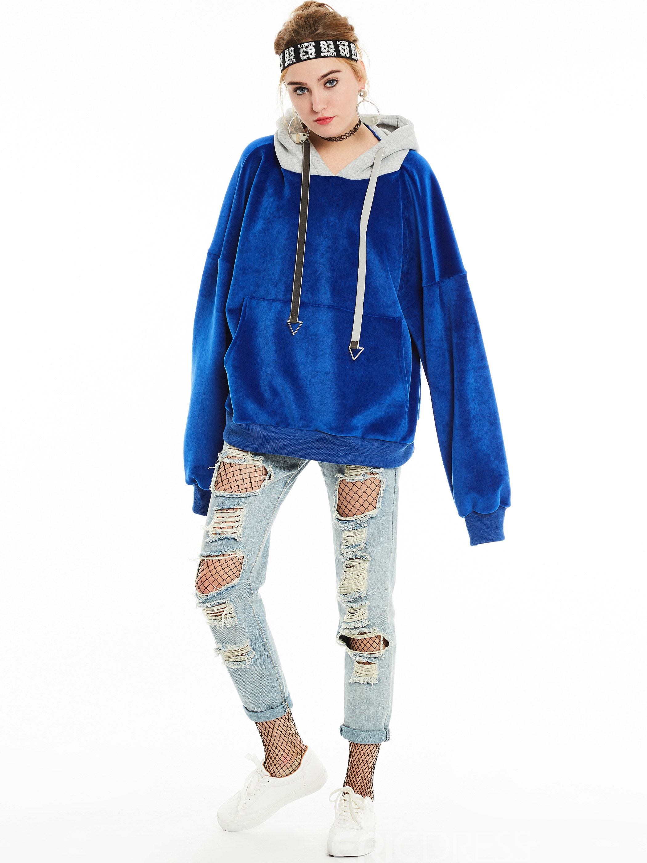 Ericdress Color Block BF Style Hoodie