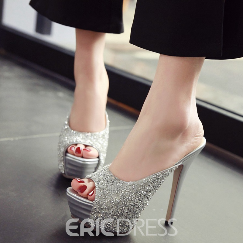 Ericdress Shining Sequins Platform Mules Shoes