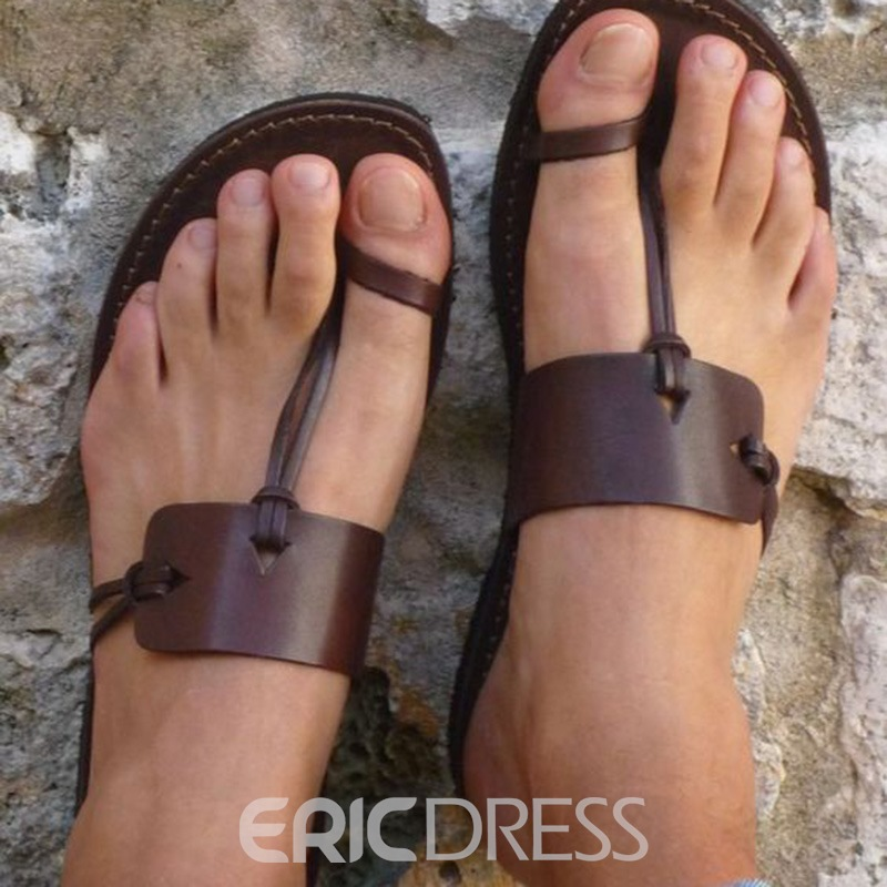 Ericdress Unique Coffee Toe Ring Flat Sandals
