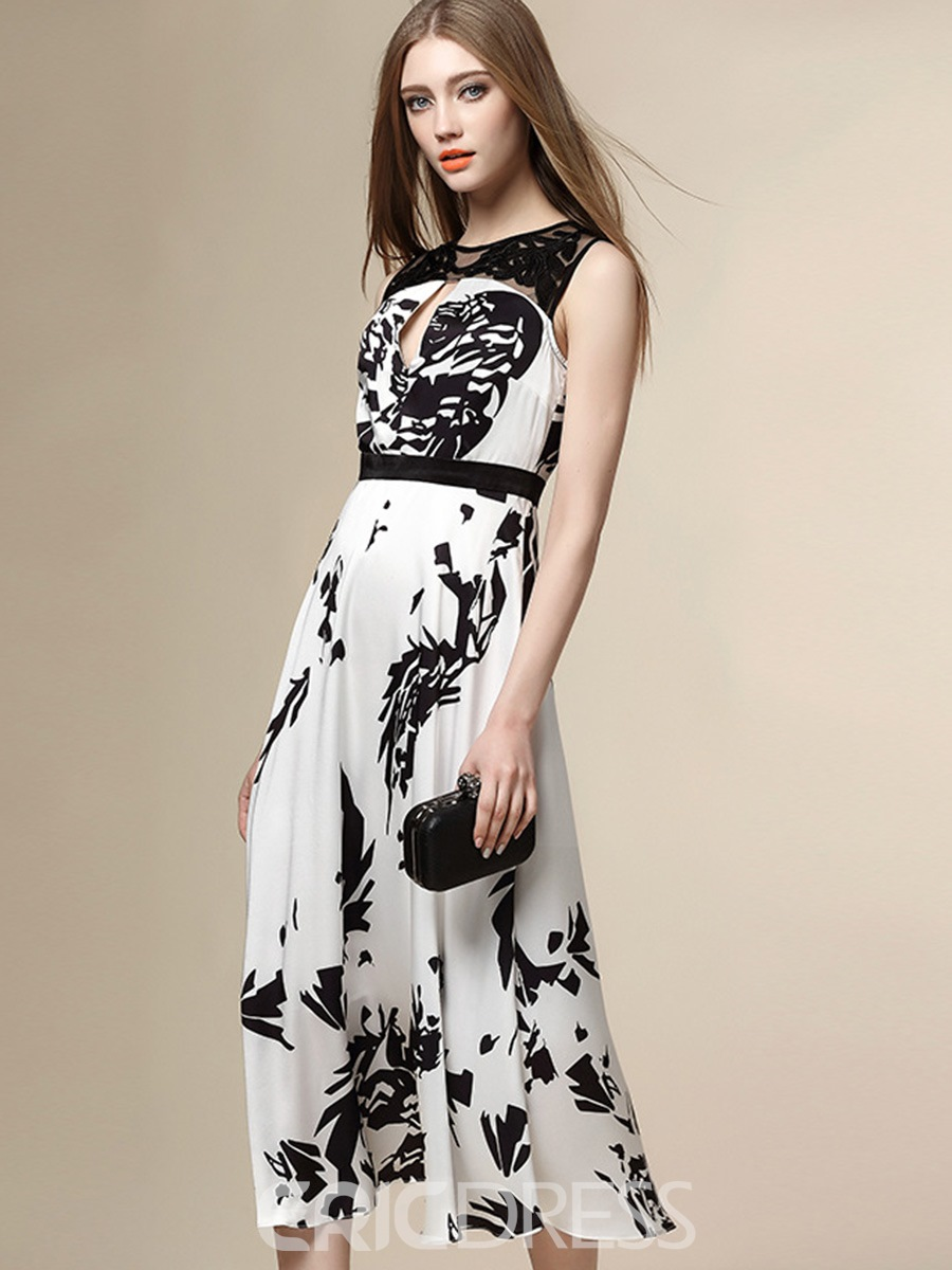 Ericdress Hollow Lace Patchwork Print Maxi Dress