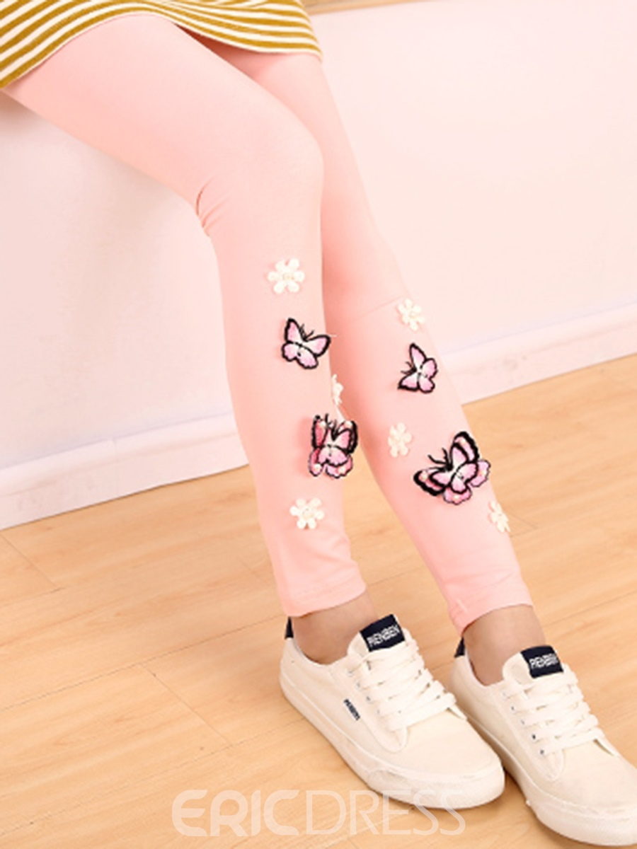 Ericdress Beading 3D Butterfly Girls Leggings