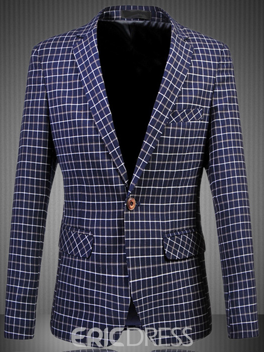Ericdress Large Size Grid One Button Men's Blazer