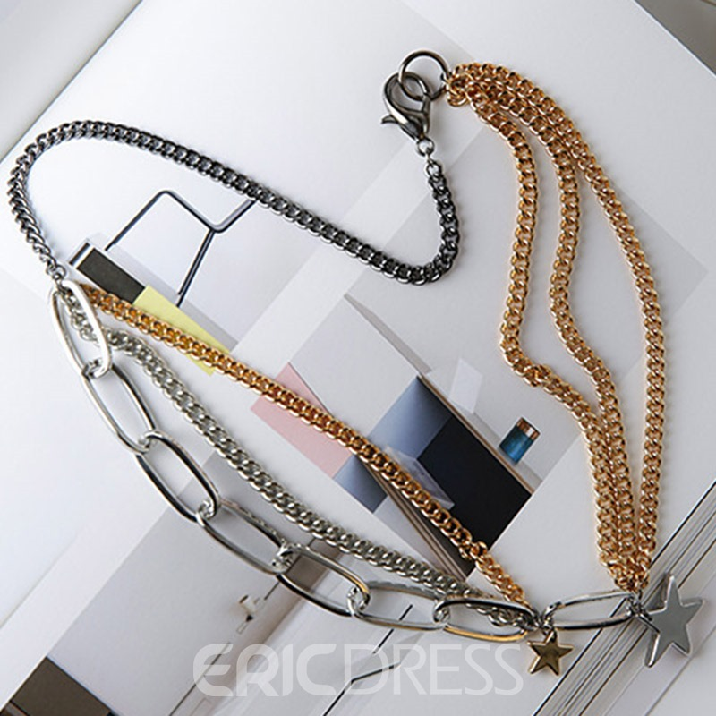 Ericdress European Style Multilayer Chain Stars Necklace