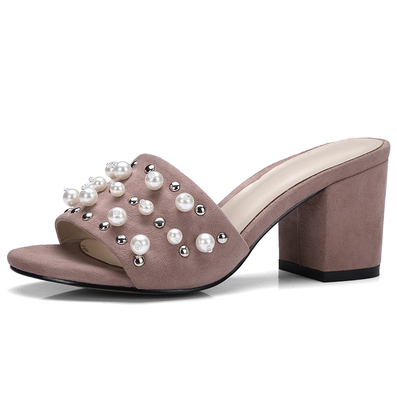 Ericdress Pearl Decorated Block Heel Mules Shoes