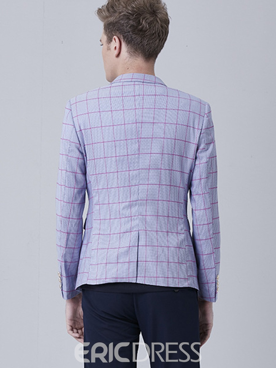 Ericdress One Button Plaid Stylish Men's Blazer