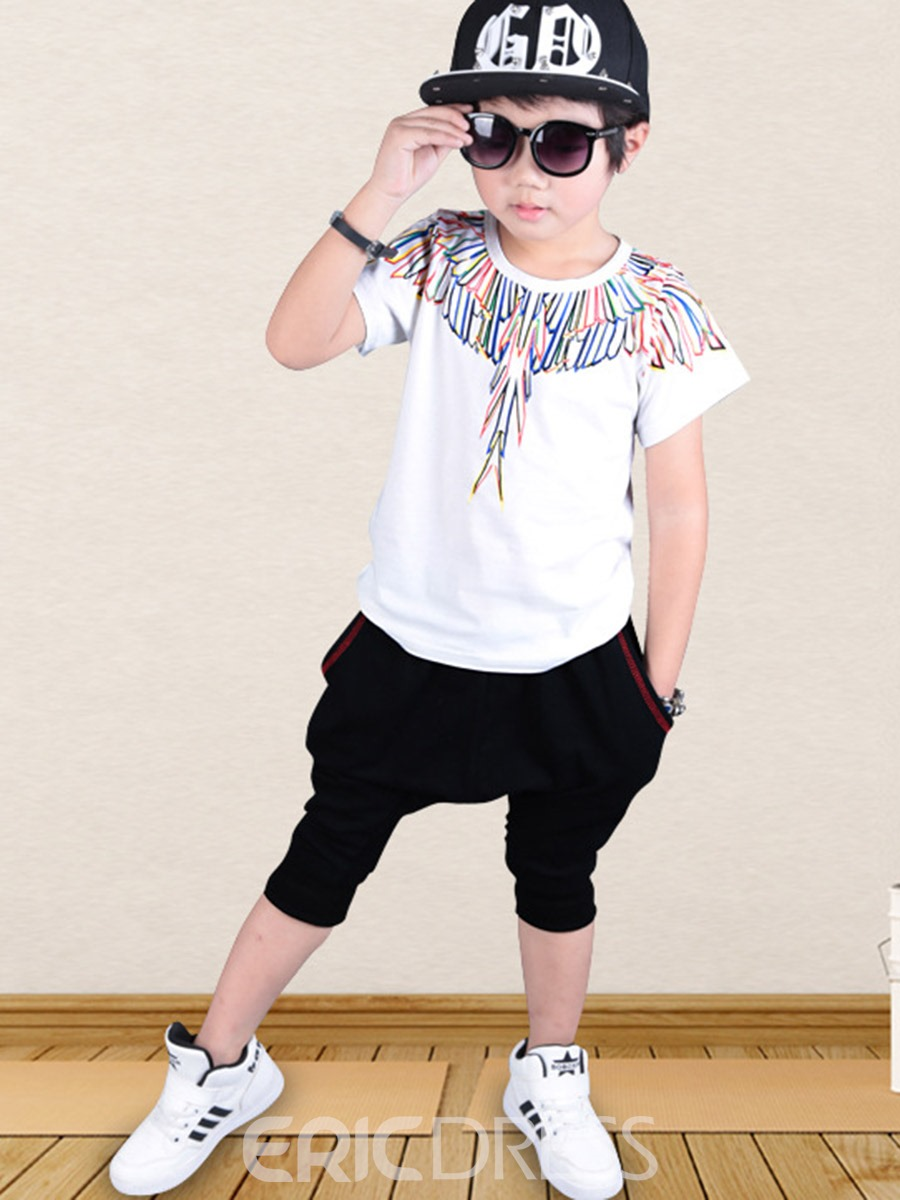 Ericdress Print Casual Summer Boys Suit