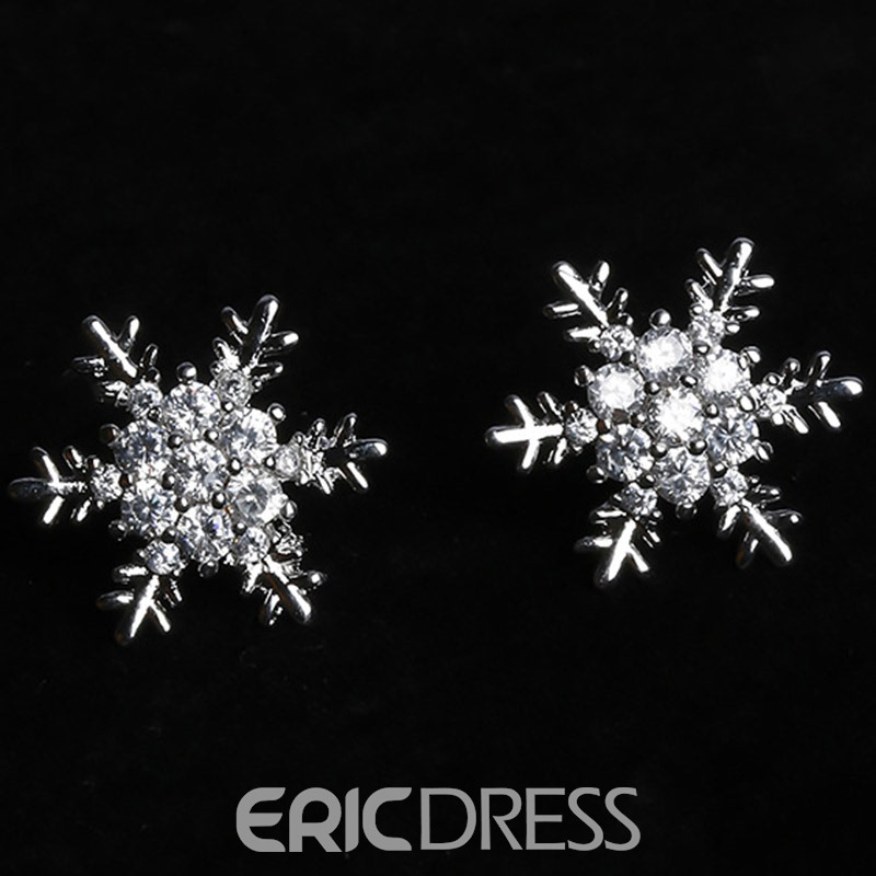 Ericdress Micro Zircon Snowflake Shaped All-Matched Earrings