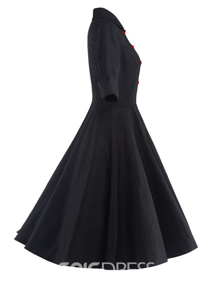 Ericdress Lapel Pleated Plain A Line Dress