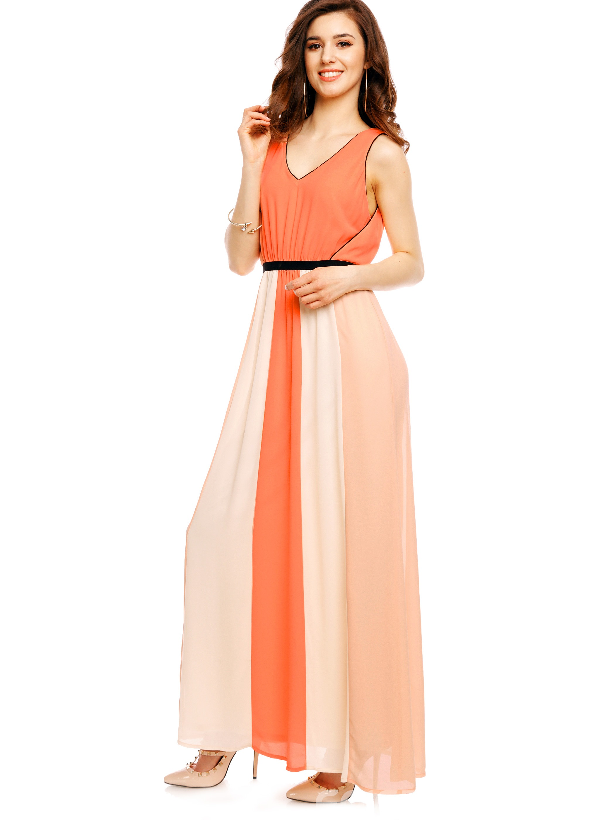 Ericdress Pleated V-Neck Sleeveless Maxi Dress