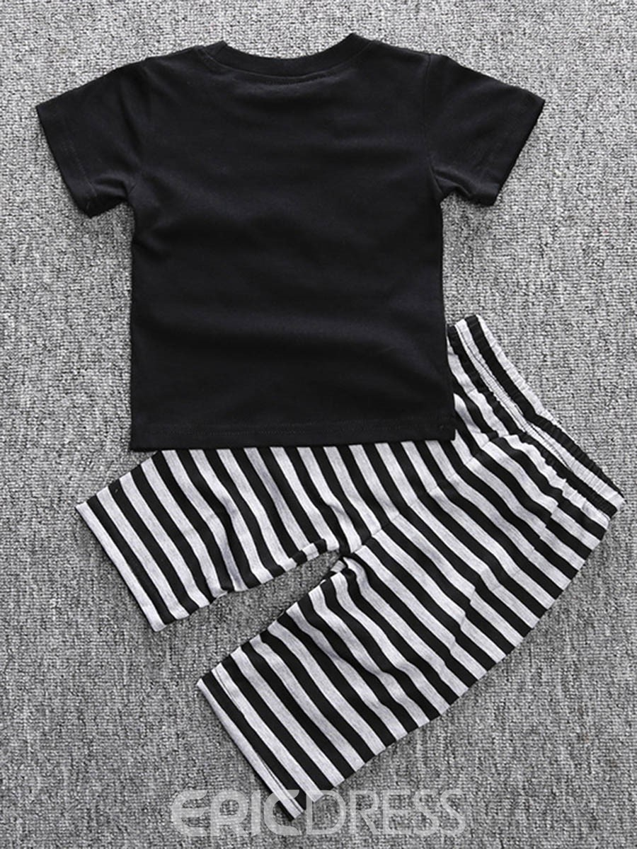 Ericdress Letter T-Shirt Stripe Pants Boys Outfit